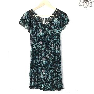 💋Dark floral baby doll dress S